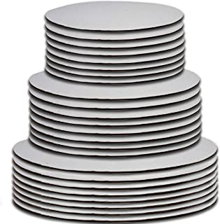 """24 Cake Board Rounds White Circle Cardboard Base Holders Disposable Plate Tray 3 Assorted Sizes 8 of Each 6 Inch 8"""" and 10"""" For Cake Decorating Baking Supplies & Pizza Disc Liners By Gift Boutique"""