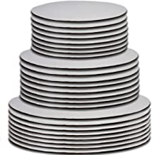 "24 Cake Board Rounds White Circle Cardboard Base Holders Disposable Plate Tray 3 Assorted Sizes 8 of Each 6 Inch 8"" and 10"" For Cake Decorating Baking Supplies & Pizza Disc Liners By Gift Boutique"
