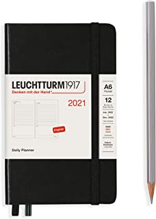 ロイヒトトゥルム 手帳 2021年 1月始まり A6 デイリー ブラック 362098