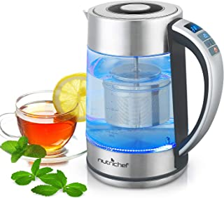 Hot Water Boiler Glass Kettle - Digital 1.7L Portable Easy Pour Teapot Coffee Brewer Stainless Steel Inner Filter, Adjustable Temperature Control, 60 Mins Keep Warm Function NutriChef PKWTK75