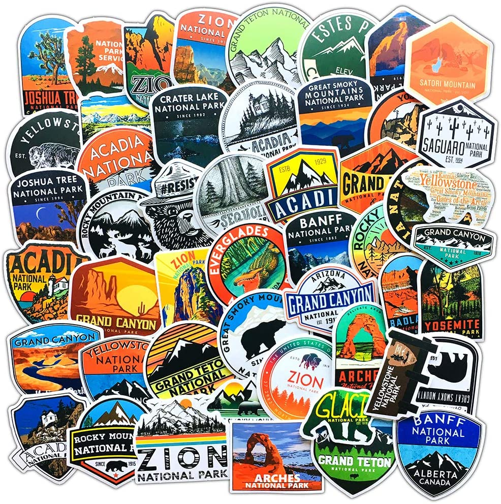 National Park Stickers (50 pcs)   Adventure Nature Outdoors Hiking Camping Skiing Travel Stickers   Cool Suitcase Stickers Decals for Car Bumper Luggage, Laptop, Water Bottle, Phone Case