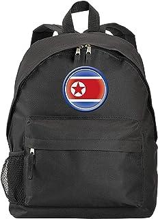 Mochila Corea del Norte con bandera y escudo sintético con bolsillos con cremallera y correas