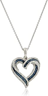 """Sterling Silver Blue and White Diamond Heart Pendant Necklace (1/2 cttw), 18"""""""