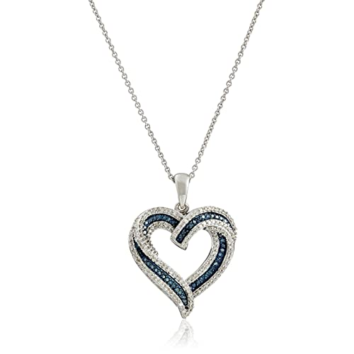 be49267f3 Sterling Silver Blue and White Diamond Heart Pendant Necklace (1/2 cttw),