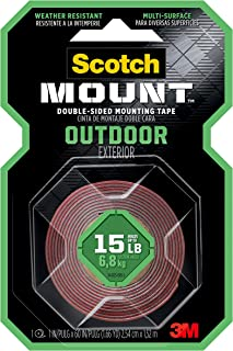 Scotch Mounting, Fastening & Surface Protection Scotch Outdoor Mounting Tape, x 60-inches, Gray, 1-Roll (411P), 1-inch inc...