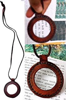 Nautical Vintage Leather Strap Necklace Magnifying Glass Magnifier Pendant