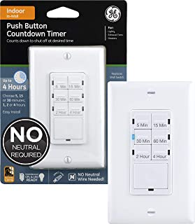 GE Push-Button Countdown Timer Switch, 5-15-30 Minute/1-2-4 Hour, ON/Off, No Neutral Wire Needed, Ideal for Lights, Exhaus...
