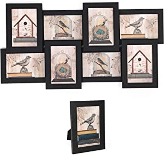 SONGMICS Collage Picture Frames, 4 x 6 Inches for 8 Photos and 1 Single Frame, Display Wood Grain, PS Front, Assembly Required, Black URPF08B