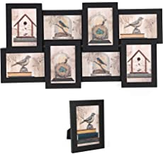 SONGMICS Collage Picture Frames, 4 x 6 Inches for 8 Photos and 1 Single Frame, Display Wood Grain, Glass Front, Assembly Required, Black URPF08B