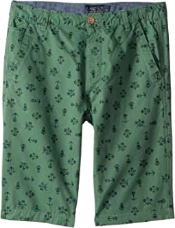 Anchor Palm Tree Flat Front Shorts (Big Kids)