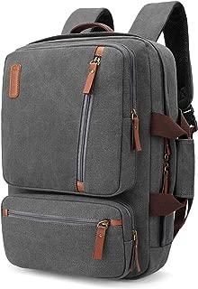 SOCKO Convertible Laptop Backpack Canvas Messenger Bag Shoulder Briefcase Multifunctional Travel Rucksack Hiking Knapsack College Notebook Bag Fits 17.3 Inch Laptops for Men/Women, Gray