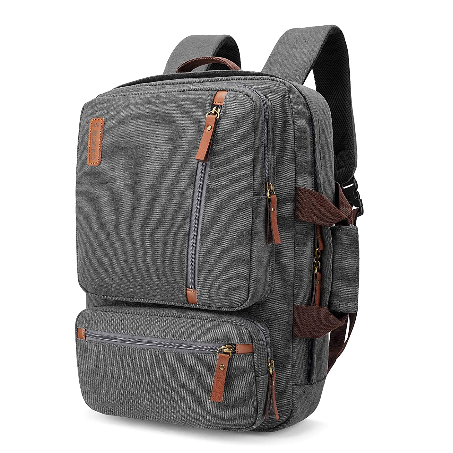 SOCKO Convertible Laptop Backpack Canvas Messenger Bag Shoulder Briefcase Multifunctional Travel Rucksack Hiking Knapsack College Notebook Bag Fits 17.3 Inch Laptops for Men/Women, Gray hskepyd455543