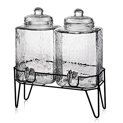 0c032df7144 Style Setter Hamburg 210266-GB 1.5 Gallon Each Glass Beverage Drink  Dispensers with Metal Stand