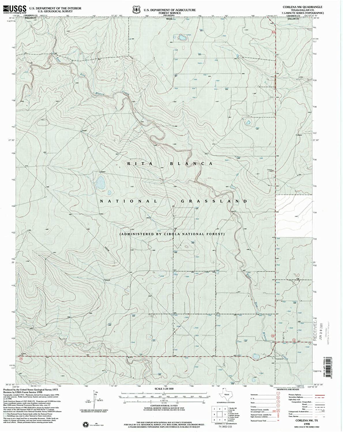 Corlena NW TX topo map, 1 24000 Scale, 7.5 X 7.5 Minute, Historical, 1998, Updated 2001, 26.7 x 22.9 in