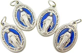 Men's or Women's Catholic Silver Tone and Royal Blue Miraculous Medal Mary Devotional Charm Pendant, Set of 4