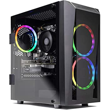 SkyTech Blaze II Gaming Computer PC Desktop – Ryzen 5 2600 6-Core 3.4 GHz, NVIDIA GeForce GTX 1660 Super 6G, 500G SSD, 16GB DDR4 3000MHz, RGB, AC WiFi, Windows 10 Home 64-bit