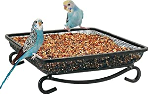 MIXXIDEA Ground Platform Bird Feeder Tray, Metal Mesh Seed Tray for Bird Feeders, Great Attracting Garden Yard Decoration for Wild Birds Squirrels Dove (1 Pack)