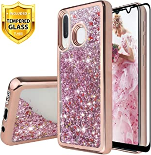 TJS Case for Samsung Galaxy A20/Galaxy A30/Galaxy A50, with [Full Coverage Tempered Glass Screen Protector] Bling Glitter Sparkle Liquid Infused Stars Moving Quicksand Phone Cover (Rose Gold)