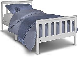 Lit simple en pin VonHaus –cadre de lit en bois blanc de 90 cm avec sommier en lattes – parfait pour les étudiants et les enfants – tête et pied de lit inclus