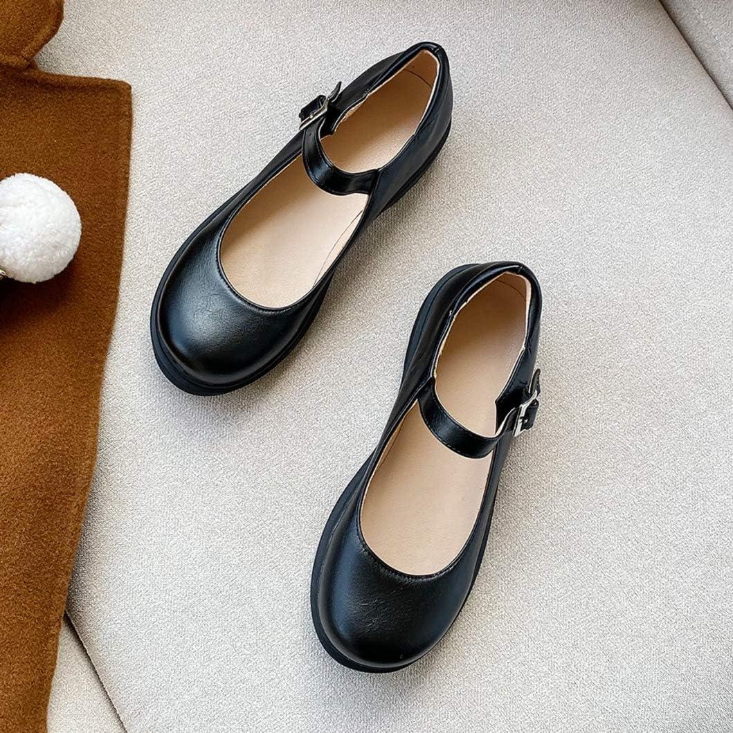Piattaforma Mary Janes Scarpe per Donna Classici Bocca Superficiale Punta Tonda Cinturino con Fibbia Appartamenti Retro Pompe da Donna per Ufficio Taglia 34-42