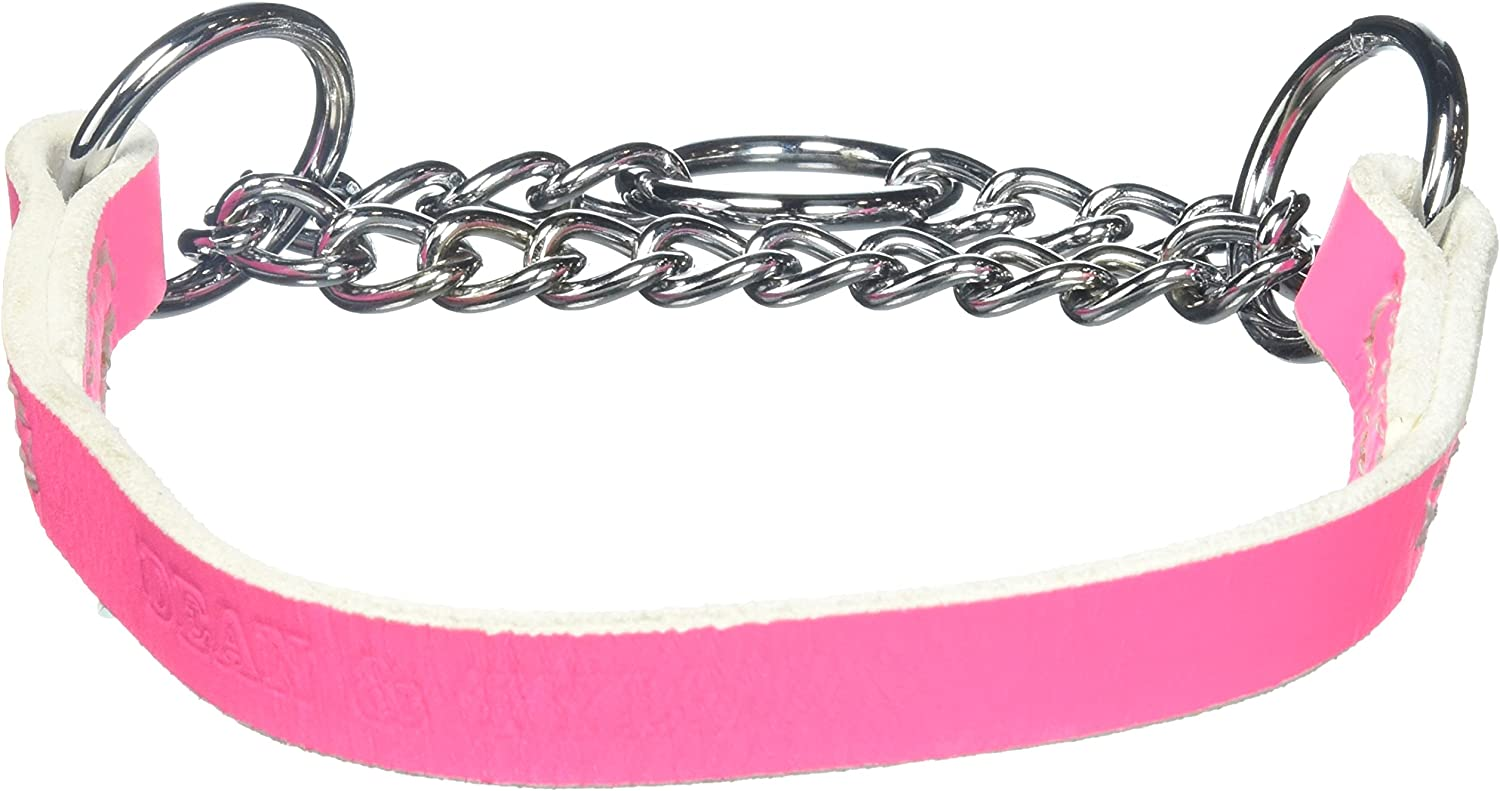 Dean & Tyler  Leather Martingale  20Inch by 3 4Inch Dog Choke Collar with Chrome Plated Steel Chain, Fits Neck 18Inch to 20Inch, Pink