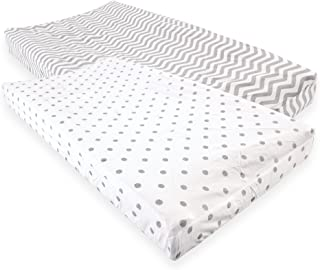 Luvable Friends Unisex Baby Fitted Changing Pad Cover, Gray Chevron Dot, One Size