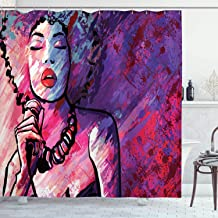Grunge Home Decor Shower Curtain by Ambesonne, Jazz Singer Performing with Microphone on Grunge Background Illustration Print, Polyester Fabric Bathroom Set with Hooks, 69 X 70 Inches, Purple and Pink