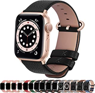Fullmosa Compatible with Apple Watch Band 38mm 40mm 42mm 44mm, Lichi Calf Leather Apple Watch Band/Strap with Stainless St...