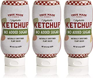 True Made Foods Vegetable No Added Sugar Ketchup, Paleo Certified, Keto, Whole30, Non-GMO, 17oz Squeeze Bottle, Pack of 3