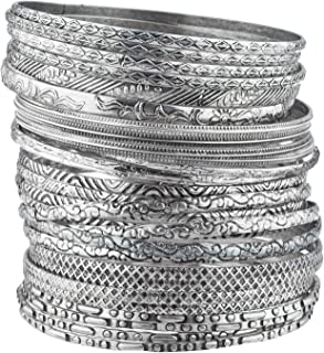 Lux Accessories Tribal Ethnic Plated Womens Bangle Bracelets (28pc)
