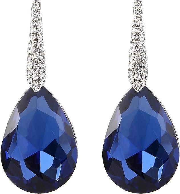 BriLove Women's Wedding Bridal Crystal Bold Teardrop Chandelier Dangle Earrings