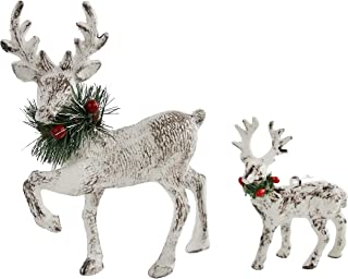 Athoinsu 2PCS Christmas Reindeer Figurine Decoration Set Table Tree Ornaments Xmas Holiday Party Supplies(PCS(2))