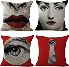 Rita Home Decor 4 Pack Fornasetti Creation Lina's Bouncing Exaggerated Face Throw Pillow Covers 18x18 Inch Cushion Cover Pillowcase with Zipper Cotton Linen Burlap Square Pillow Cover for Sofa Decor