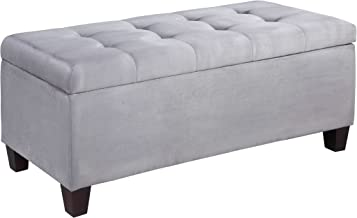 FurnitureMaxx Carmen Grey Shoe Storage Ottoman
