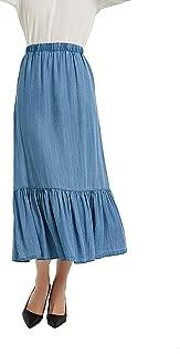 Womens Tencel Denim Long Midi Skirt Pleated Hem