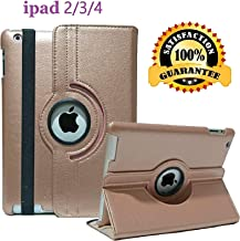 iPad 2/3/4 Case - 360 Degree Rotating Stand Smart Case Protective Cover with Auto Wake Up/Sleep Feature for Apple iPad 4, iPad 3 & iPad 2 (Rose Gold)