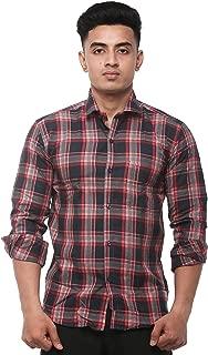 JPF Smart Men's Cotton Regular Fit Formal Shirt for Men Casual Full Sleeves Shirt for Men/Cotton Checkered Short Sleeve Shirts for Men Red Checked Shirts boy