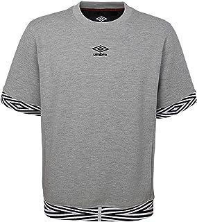 Umbro Men's Short Sleeve Club Fleece Crew Sweater, Medium Grey Heather/Black Medium