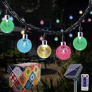 Solar String Lights Outdoor YEEMATOP 60 LED 36 Feet Solar Fairy Lights with 8 Lighting Modes,Indoor String Lights Waterproof Crystal Globe Lights for Garden,Party,Wedding,Christmas Decor (Multicolor)