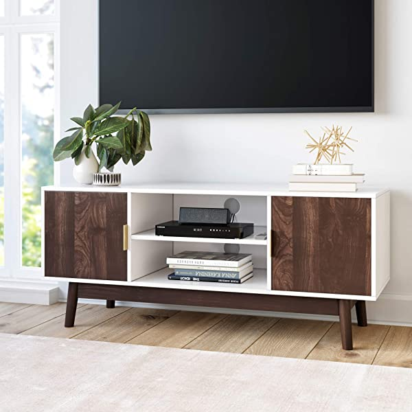 Nathan James 74402 Wesley Scandinavian TV Stand Media Console With Wooden Frame And Cabinet Doors White Walnut