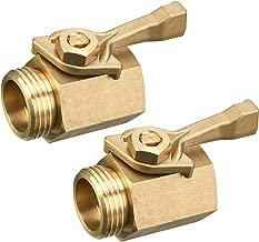 M MINGLE Heavy Duty Brass Garden Hose Shut Off Valve, 3/4 Inch, 2-Pack with 2 Hose Washers