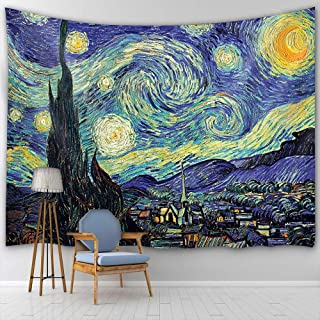 BTTY Van Gogh Starry Night Tapestry Art Oil Painting Home Decoration Bedroom Living Room Dorm Apartment Backdrop Wall Abst...