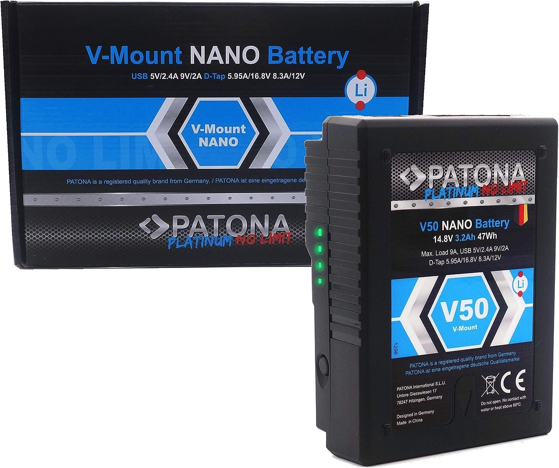Patona Platinum Nano V50 V Mount Akku Mit D Tap Und Kamera