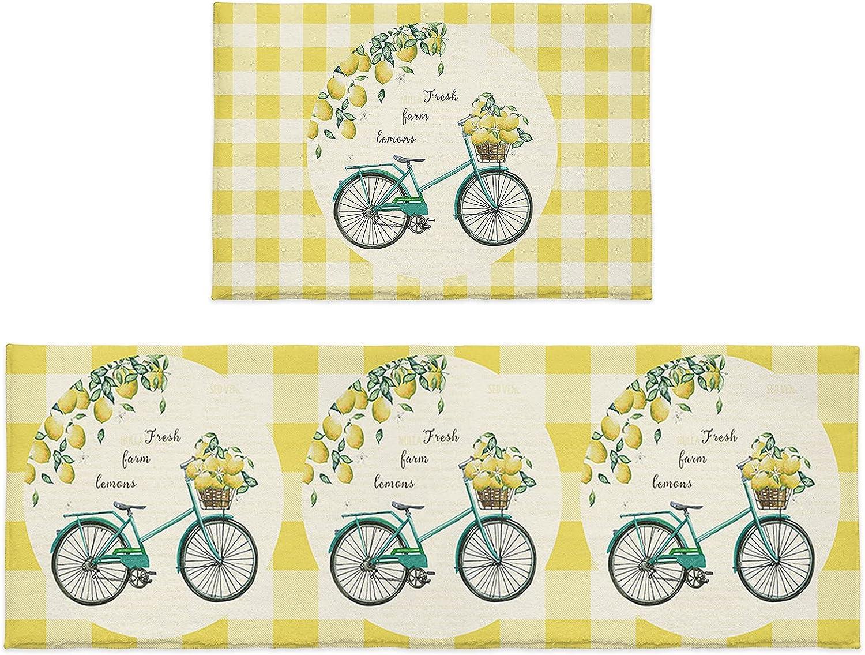 2 Pieces Kitchen Rugs and Mats famous Wat Bike Summer Lemon Harvest Set Ranking TOP3