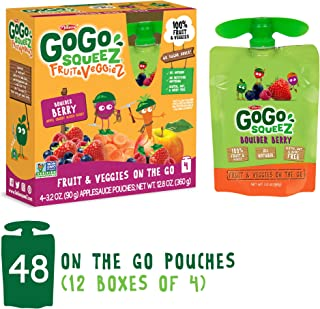 GoGo squeeZ Fruit & VeggieZ on the Go, Apple Carrot Mixed Berry, 3.2 Ounce (Pack of 48), Gluten Free, Vegan Friendly, Healthy Snacks, Unsweetened, Recloseable, BPA Free Pouches