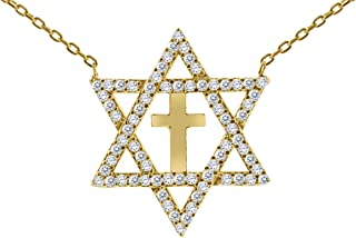 Gold Cross and Star of David Necklace for Women Religious Pendant With Sparkling Stones