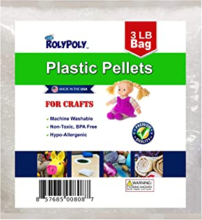 Poly Plastic Pellets (3 LBS) Filler or Stuffing Beads for Weighted Blankets, Weighted Vests, Rock Tumblers, Slushie or Crunchy Slime, Lap Pads, iSpy Bags, Draft Stoppers, Sensory Development