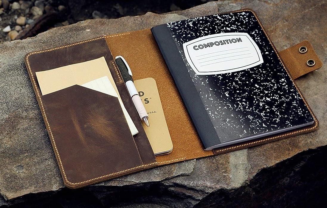 カスタマイズ コンポジションノート本革カバーケース オイルタンニンなめし牛革 ビンテージレトロ レザーノートボックカバーポートフォリオ Composition Notebook収納適用 ブラウン NB505CPS