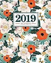 Agenda 2019: 190 x 235 mm : Agenda 2019 semana vista español : 160 g/m²: Flores naranjas rosas y verdes sobre blanco 7184 (Spanish Edition)