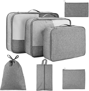 Packing Cubes for Travel 7 Set, Luggage Packing Organizers with Shoe Bag and Toiletry Bag (Grey)